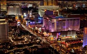 Картинка city, город, огни, вечер, USA, Лас Вегас, казино, Las Vegas, hotel, Nevada, отели, панорама., casino
