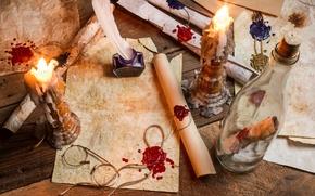 Картинка бумага, перо, бутылка, свечи, очки, воск, чернила, пергамент, свитки, печати, сургуч