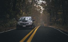 Обои дорога, осень, лес, листья, деревья, листва, фары, Subaru, WRX, спереди, STI