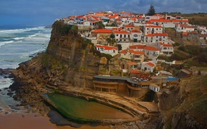 Картинка море, скала, дома, Португалия, Лиссабон, Azenhas do Mar