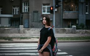 Картинка девушка, город, светофор