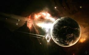 Обои взрыв, планета, разлом, ракеты, космос