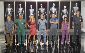 Обои Джей Ди, Scrubs, клиника, Уборщик, Тёрк, Доктор Келсо, Эллиот, Доктор Кокс