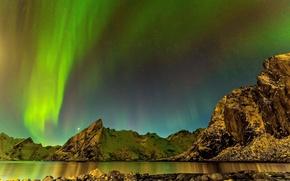 Картинка горы, северное сияние, море, ночь, Исландия, пейзаж, звезды, камни