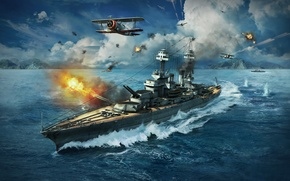 Обои Grumman F3F, WoWS, World of Warships, Мир Кораблей, Небо, Колорадо, Вода, Пламя, Облака, Камуфляж, Дым, ...