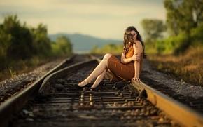 Картинка дорога, девушка, природа