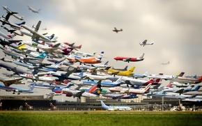 Картинка небо, авиация, аэродром, sky, самолёты, airport, airplanes, all, все, aviation, авиакомпании, Aircraft, airfield, лётное поле, ...