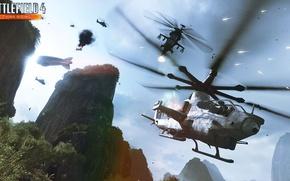 Картинка скалы, Battlefield 4, China Rising.вертолёт, воздушное превосходство