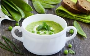 Картинка зелень, горох, peas, сметана, soup, greens, первое блюдо, the first dish, mashed potatoes, суп пюре, ...