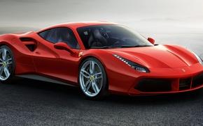Обои красный, 488 GTB, феррари, 2015, суперкар, Ferrari
