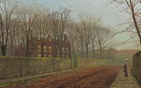 Картинка дорога, осень, девушка, деревья, птицы, ветки, дом, улица, забор, картина, Джон Эткинсон Гримшоу