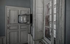 Обои комната, окно, телевизор