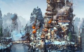 Картинка рендеринг, огонь, башня, робот, дирижабль, стимпанк, fire, битва, magic, robot, десант, battle, rendering, осада, warriors, ...