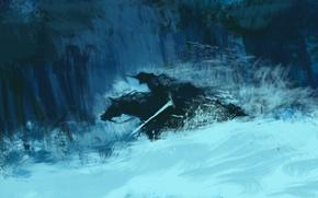 Картинка лес, снег, меч, арт, всадник, Dota 2, Abaddon, Lord of Avernus