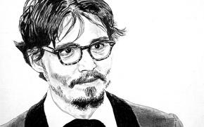 Обои портрет, актер, черно белое, johnny Depp