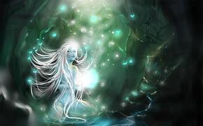 Картинка лес, светлячки, магия, Нимфа