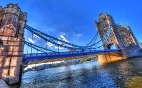 Картинка мост, река, Англия, HDR, Tower Bridge