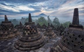 Картинка небо, облака, деревья, туман, гора, вечер, Индонезия, дымка, храм, архитектура, Ява, Боробудур