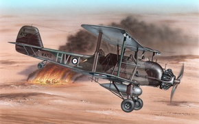 Картинка art, airplane, painting, aviation, Vickers Vildebeest
