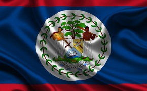 Картинка Красный, Синий, Флаг, Герб, Текстура, Flag, Belize, Белиз