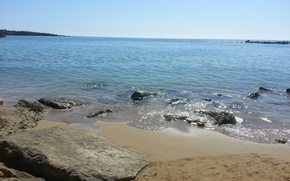 Картинка песок, море, пляж, солнце, камни, Кипр, Cyprus. Coral Bay