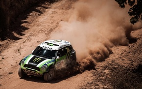 Картинка Пыль, Зеленый, Скорость, Mini Cooper, Rally, Dakar, MINI, Мини Купер, X-raid