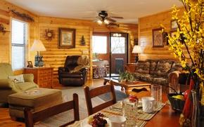 Картинка дизайн, стиль, интерьер, жилая комната, загородный дом