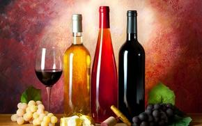 Картинка вино, бокал, сыр, хлеб, виноград, пробка, бутылки, натюрморт, штопор