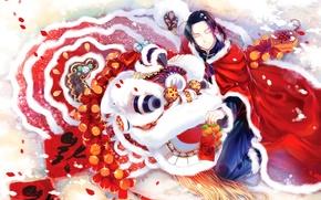 Обои новый год, подарки, мужчина, new year, man, красная мантия, мандарины