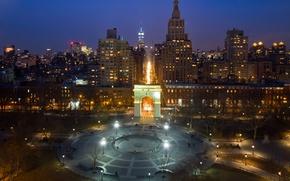 Картинка ночь, огни, парк, дома, Нью-Йорк, арка, США, Washington Square Park, Манхетен, Гринвич-Виллидж