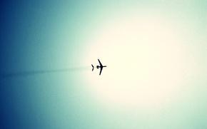 Картинка небо, голубое, Самолёт