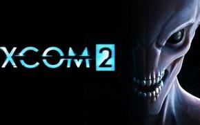 Картинка взгляд, XCOM 2, Firaxis, пришелец, зубы, лого, тьма, 2K Games, logo