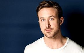 Картинка синий, лицо, фон, актер, мужчина, Ryan Gosling, Райан Гослинг