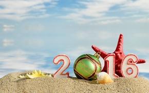 Картинка песок, пляж, Новый Год, цифры, New Year, Happy, 2016