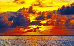 Картинка twilight, sea, sunset, clouds, dusk, seaside, horizon