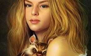 Обои кот, девушка, волосы
