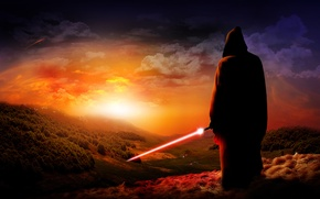 Картинка джедай, меч, закат