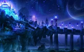 Картинка море, волны, ночь, мост, огни, камни, скалы, планеты, арт, храм