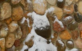 Картинка снег, камни, фон, стена, widescreen, обои, wallpaper, широкоформатные, background, красивые обои, обои на рабочий стол, …