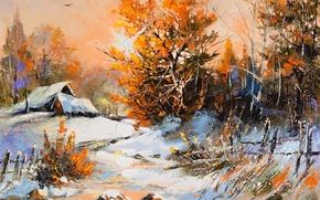 Картинка зима, снег, деревья, пейзаж, краски, листва, картина, деревня, домики, оранж, winter scene, Perfect