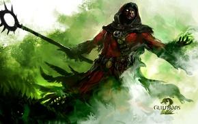 Картинка посох, Guild Wars 2, Green, Колдун