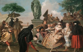 Обои люди, танец, картина, маска, Джованни Доменико Тьеполо, МИНУЭТ