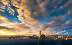 Обои небо, облака, закат, здания, Гонконг, небоскребы, вечер, порт, залив, мегаполис, Hong Kong