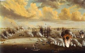 Картинка масло, картина, холст, 9—10 июля 1790 года, Юхан Титрих Шульц, «Битва при Роченсальме», Русско-шведская война, …