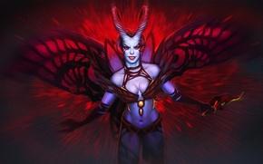Картинка девушка, крылья, демон, арт, рога, Dota 2, Akasha, Queen of Pain