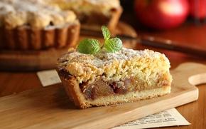 Обои яблоко, кусок, выпечка, пирог, мята