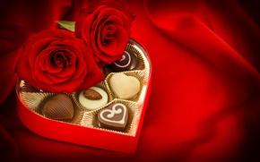 Картинка шоколад, розы, конфеты, бутоны, День Святого Валентина