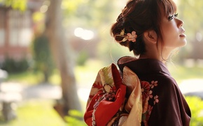 Картинка лето, взгляд, девушка, лицо, стиль, фон, одежда, кимоно, азиатка