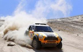 Картинка Песок, Желтый, Пыль, День, Mini Cooper, Жара, Rally, Dakar, MINI, Передок, Мини Купер, X-raid