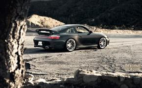Картинка горы, черный, Porsche, суперкар, Carrera, 996